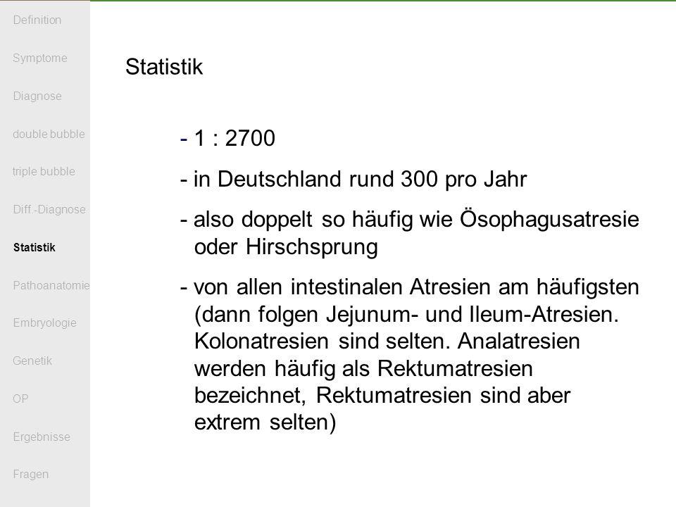 Statistik - 1 : 2700 - in Deutschland rund 300 pro Jahr - also doppelt so häufig wie Ösophagusatresie oder Hirschsprung - von allen intestinalen Atresien am häufigsten (dann folgen Jejunum- und Ileum-Atresien.