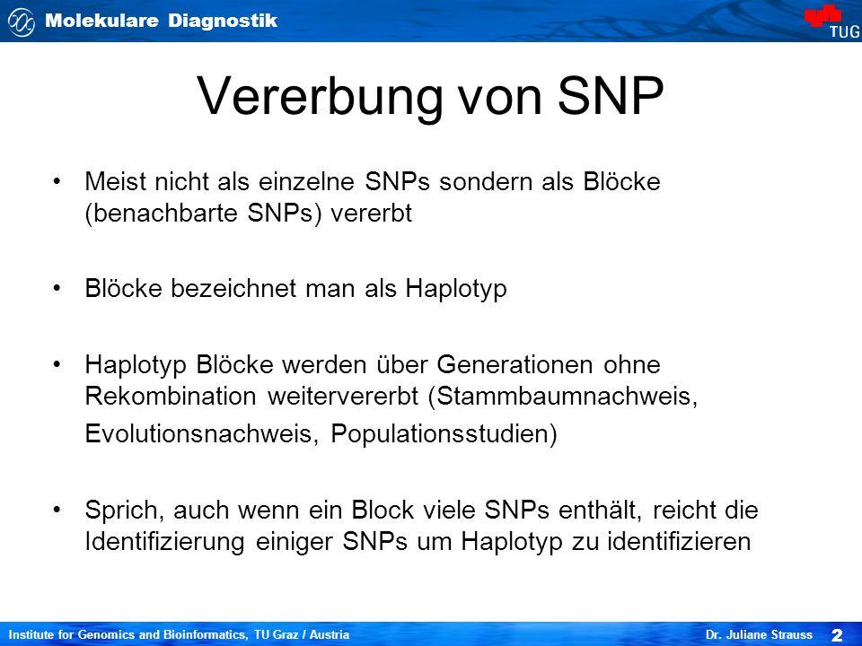 Molekulare Diagnostik 2 Institute for Genomics and Bioinformatics, TU Graz / Austria Dr. Juliane Strauss Vererbung von SNP Meist nicht als einzelne SN