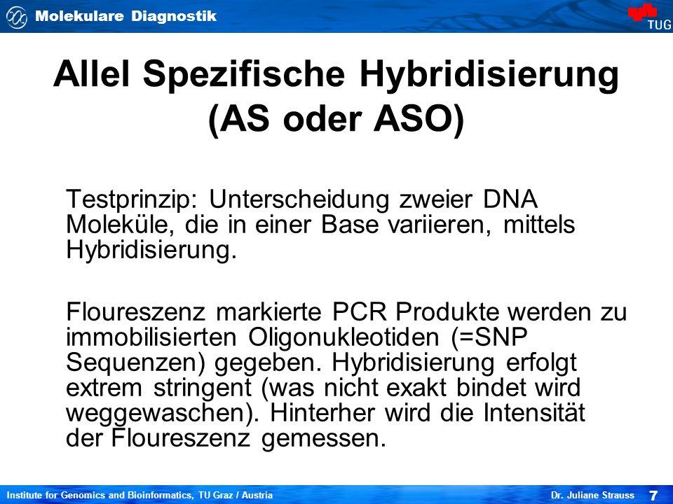 Molekulare Diagnostik 7 Institute for Genomics and Bioinformatics, TU Graz / Austria Dr. Juliane Strauss Allel Spezifische Hybridisierung (AS oder ASO