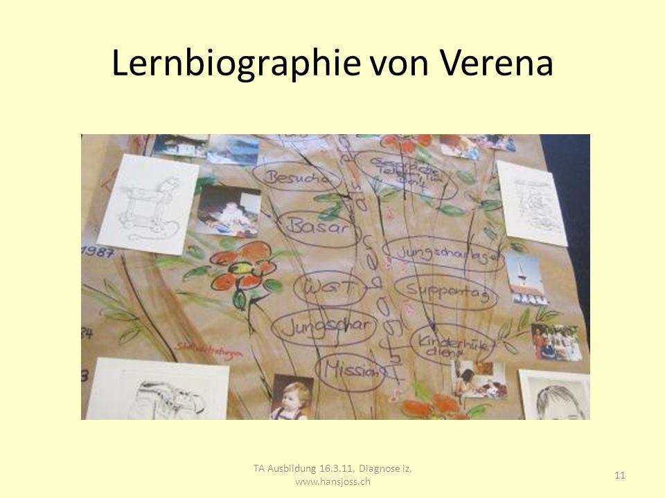 Lernbiographie von Verena TA Ausbildung 16.3.11, Diagnose iz, www.hansjoss.ch 12