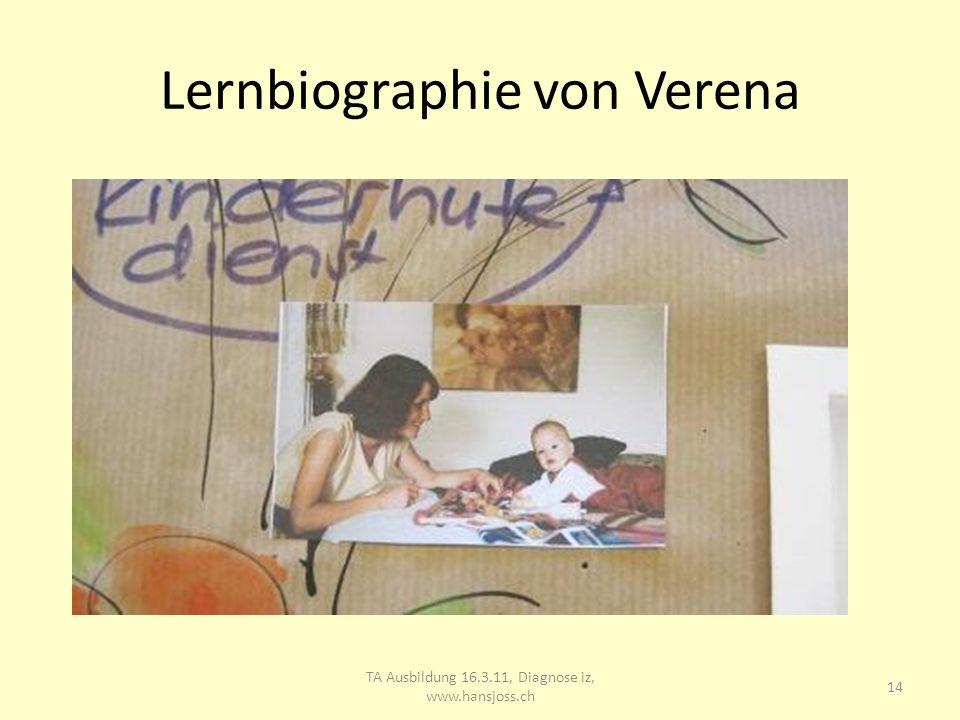 Lernbiographie von Verena TA Ausbildung 16.3.11, Diagnose iz, www.hansjoss.ch 15