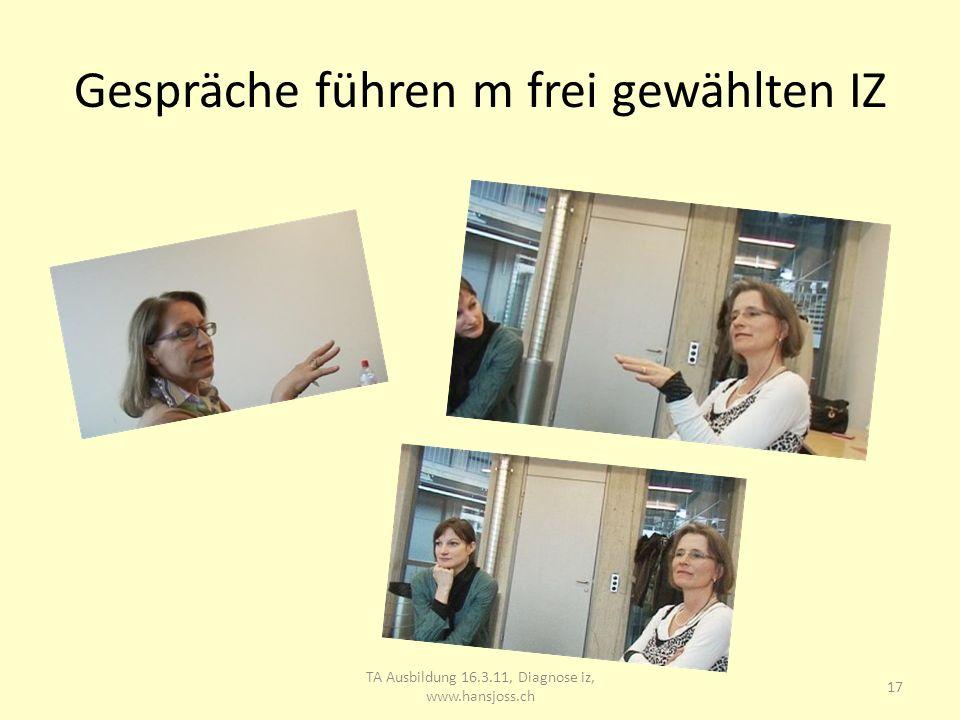 Gespräche führen m frei gewählten IZ 18 TA Ausbildung 16.3.11, Diagnose iz, www.hansjoss.ch