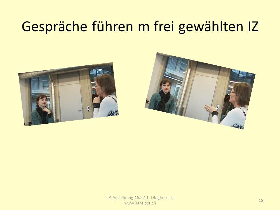 Gespräch m gewähltem IZ 19 TA Ausbildung 16.3.11, Diagnose iz, www.hansjoss.ch