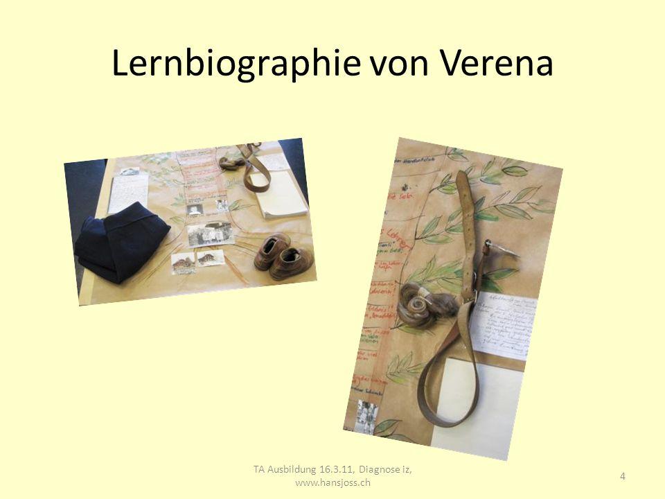 Lernbiographie von Verena TA Ausbildung 16.3.11, Diagnose iz, www.hansjoss.ch 5