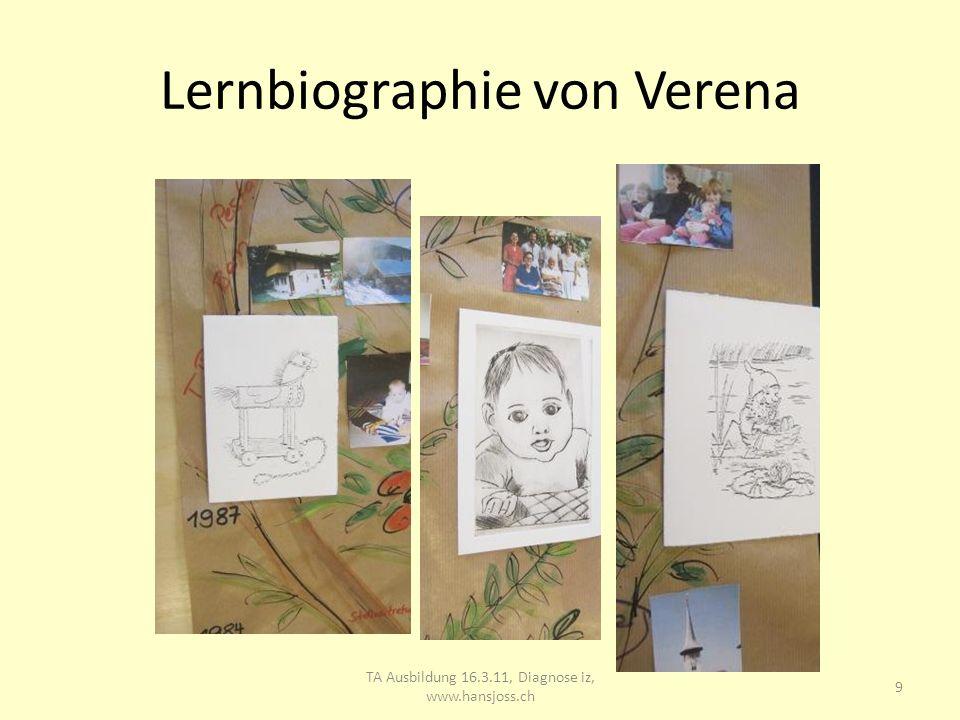 Lernbiographie von Verena TA Ausbildung 16.3.11, Diagnose iz, www.hansjoss.ch 10