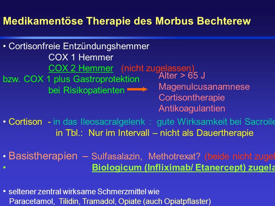 Medikamentöse Therapie des Morbus Bechterew Cortisonfreie Entzündungshemmer COX 1 Hemmer COX 2 Hemmer (nicht zugelassen) bzw. COX 1 plus Gastroprotekt