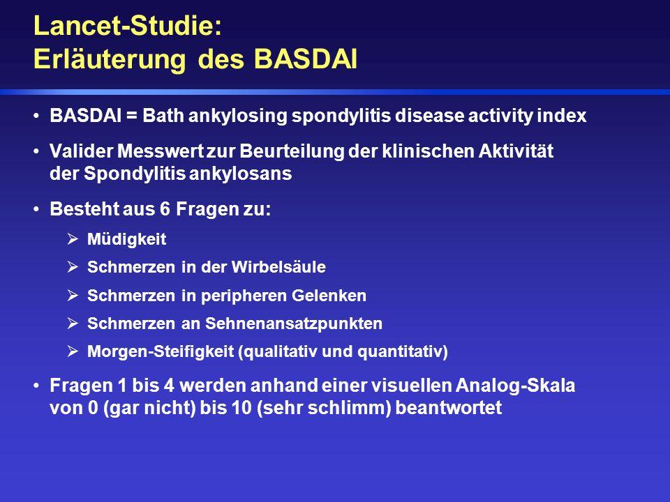 BASDAI = Bath ankylosing spondylitis disease activity index Valider Messwert zur Beurteilung der klinischen Aktivität der Spondylitis ankylosans Beste