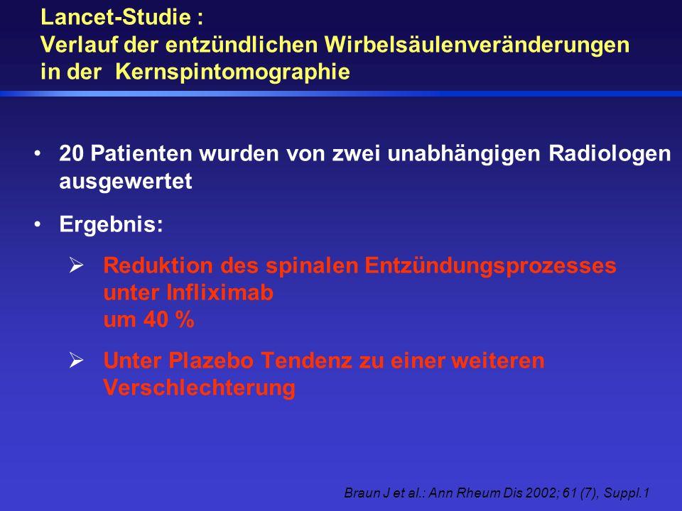 Lancet-Studie : Verlauf der entzündlichen Wirbelsäulenveränderungen in der Kernspintomographie 20 Patienten wurden von zwei unabhängigen Radiologen au