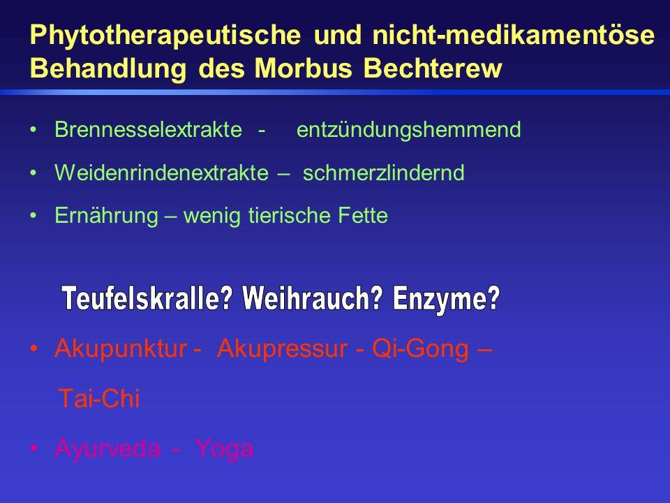 Phytotherapeutische und nicht-medikamentöse Behandlung des Morbus Bechterew Brennesselextrakte - entzündungshemmend Weidenrindenextrakte – schmerzlind