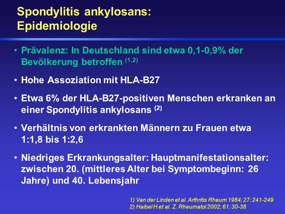 Spondylitis ankylosans: Epidemiologie Prävalenz: In Deutschland sind etwa 0,1-0,9% der Bevölkerung betroffen (1,2) Hohe Assoziation mit HLA-B27 Etwa 6