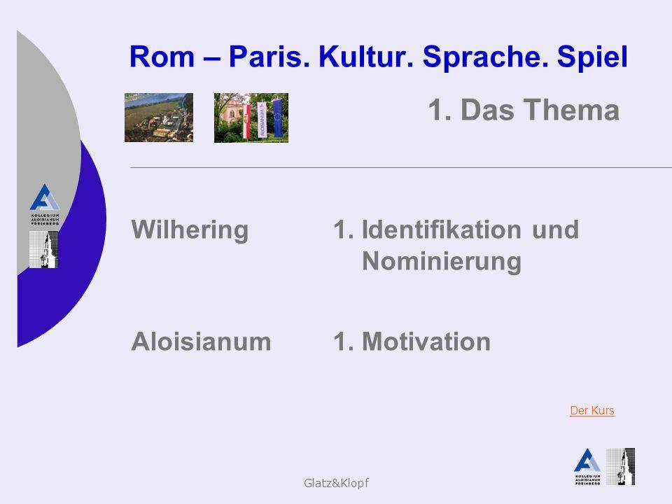 Glatz&Klopf Rom – Paris. Kultur. Sprache. Spiel 1. Das Thema Wilhering1. Identifikation und Nominierung Aloisianum1. Motivation Der Kurs