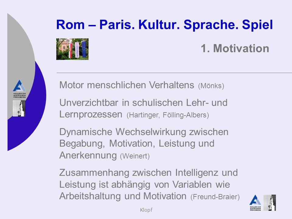 Klopf Rom – Paris. Kultur. Sprache. Spiel 1. Motivation Motor menschlichen Verhaltens (Mönks) Unverzichtbar in schulischen Lehr- und Lernprozessen (Ha