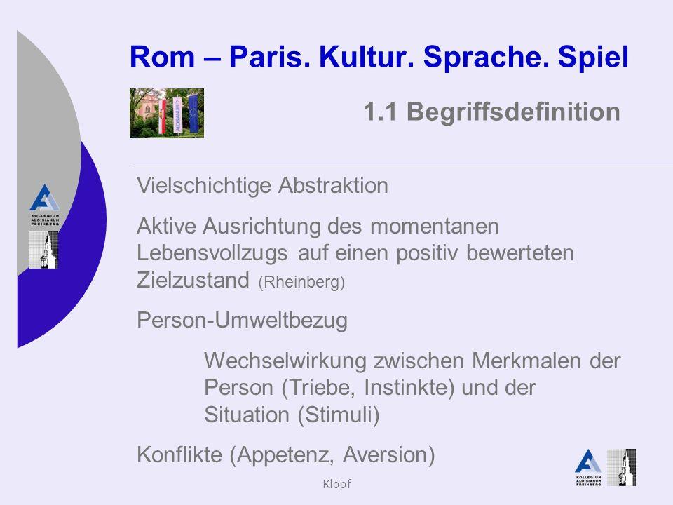 Klopf Rom – Paris. Kultur. Sprache. Spiel 1.1 Begriffsdefinition Vielschichtige Abstraktion Aktive Ausrichtung des momentanen Lebensvollzugs auf einen