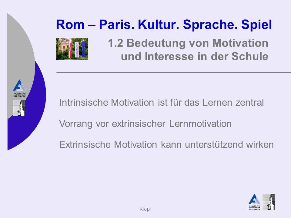 Klopf Rom – Paris. Kultur. Sprache. Spiel 1.2 Bedeutung von Motivation und Interesse in der Schule Intrinsische Motivation ist für das Lernen zentral
