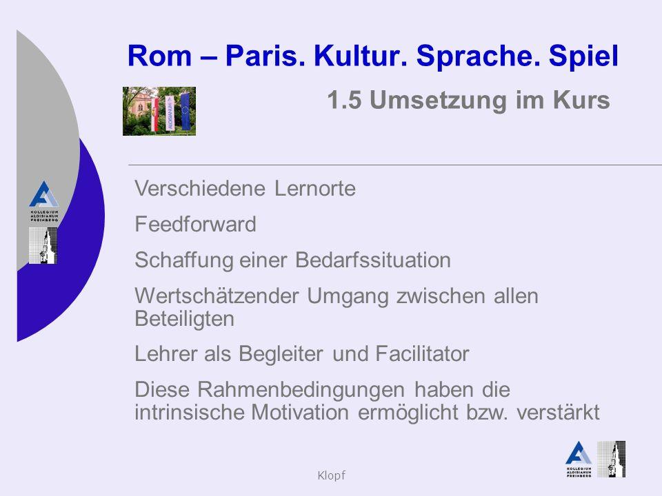 Klopf Rom – Paris. Kultur. Sprache. Spiel 1.5 Umsetzung im Kurs Verschiedene Lernorte Feedforward Schaffung einer Bedarfssituation Wertschätzender Umg