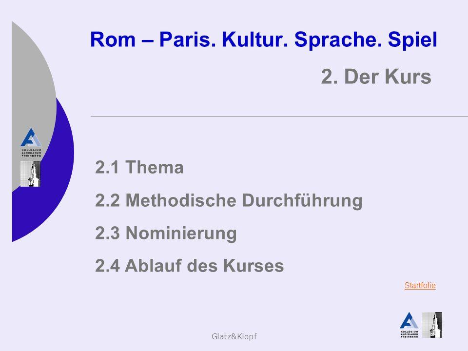 Glatz&Klopf Rom – Paris. Kultur. Sprache. Spiel 2. Der Kurs 2.1 Thema 2.2 Methodische Durchführung 2.3 Nominierung 2.4 Ablauf des Kurses Startfolie