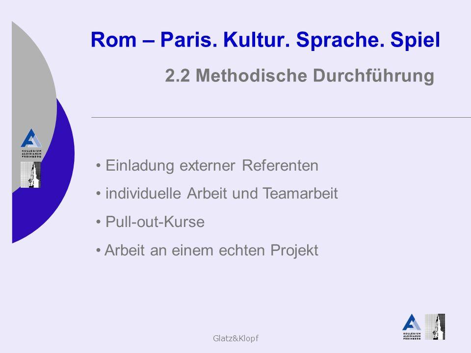 Glatz&Klopf Rom – Paris. Kultur. Sprache. Spiel 2.2 Methodische Durchführung Einladung externer Referenten individuelle Arbeit und Teamarbeit Pull-out