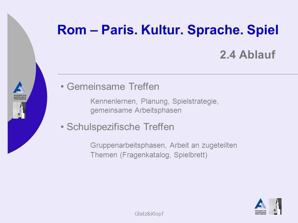 Glatz&Klopf Rom – Paris. Kultur. Sprache. Spiel 2.4 Ablauf Gemeinsame Treffen Kennenlernen, Planung, Spielstrategie, gemeinsame Arbeitsphasen Schulspe