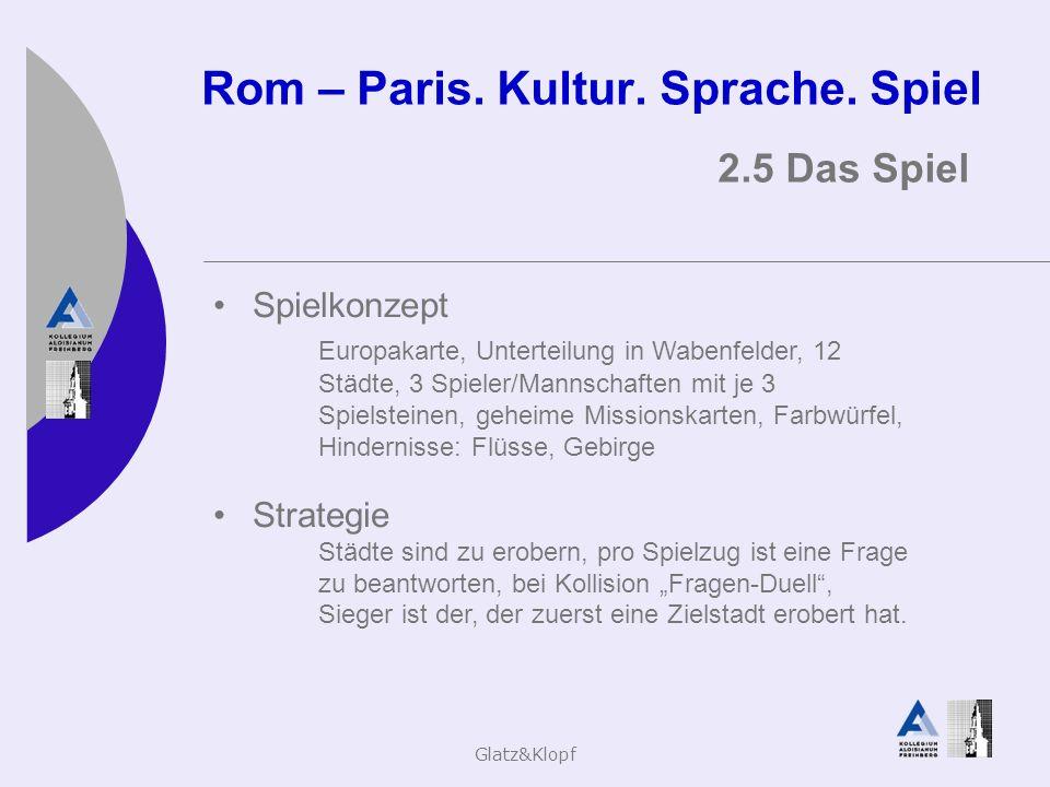 Glatz&Klopf Rom – Paris. Kultur. Sprache. Spiel 2.5 Das Spiel Spielkonzept Europakarte, Unterteilung in Wabenfelder, 12 Städte, 3 Spieler/Mannschaften