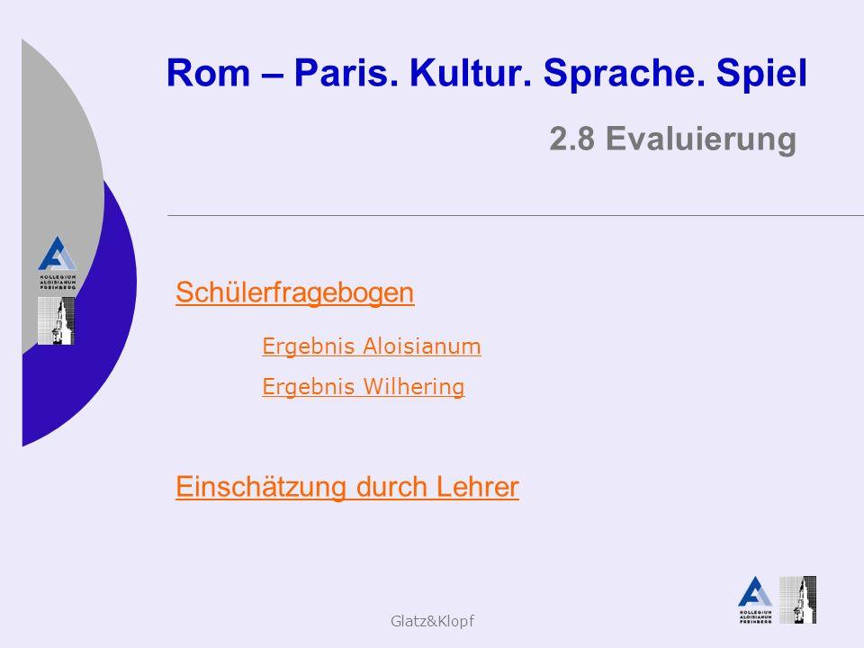 Glatz&Klopf Rom – Paris. Kultur. Sprache. Spiel 2.8 Evaluierung Schülerfragebogen Ergebnis Aloisianum Ergebnis Wilhering Einschätzung durch Lehrer