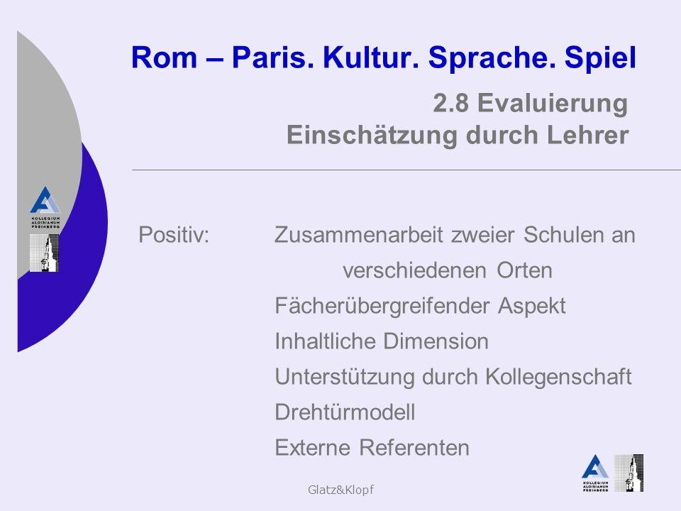 Glatz&Klopf Rom – Paris. Kultur. Sprache. Spiel 2.8 Evaluierung Einschätzung durch Lehrer Positiv:Zusammenarbeit zweier Schulen an verschiedenen Orten