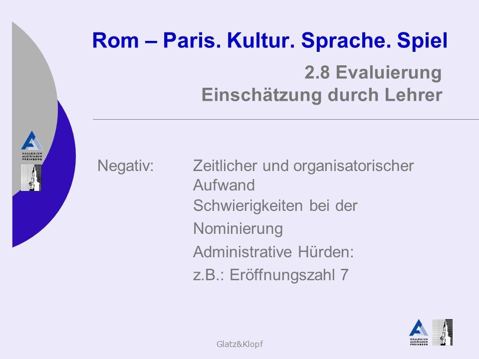 Glatz&Klopf Rom – Paris. Kultur. Sprache. Spiel 2.8 Evaluierung Einschätzung durch Lehrer Negativ:Zeitlicher und organisatorischer Aufwand Schwierigke