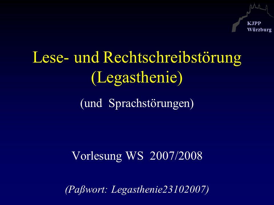 KJPP Würzburg Legasthenie-Verlauf (Mannheimer Studie, Esser, Schmidt 1994) Dissoziale Symptome mit 18 Jahren (Legasthenie - Nicht-Legasthenie) Nikotinkonsum* 56 % Alkoholkonsum* 31 % Arbeitsverweigerung 22 % Strafrechtliche Verurteilung 25 % * Häufiger als bei anderen Entwicklungsstörungen