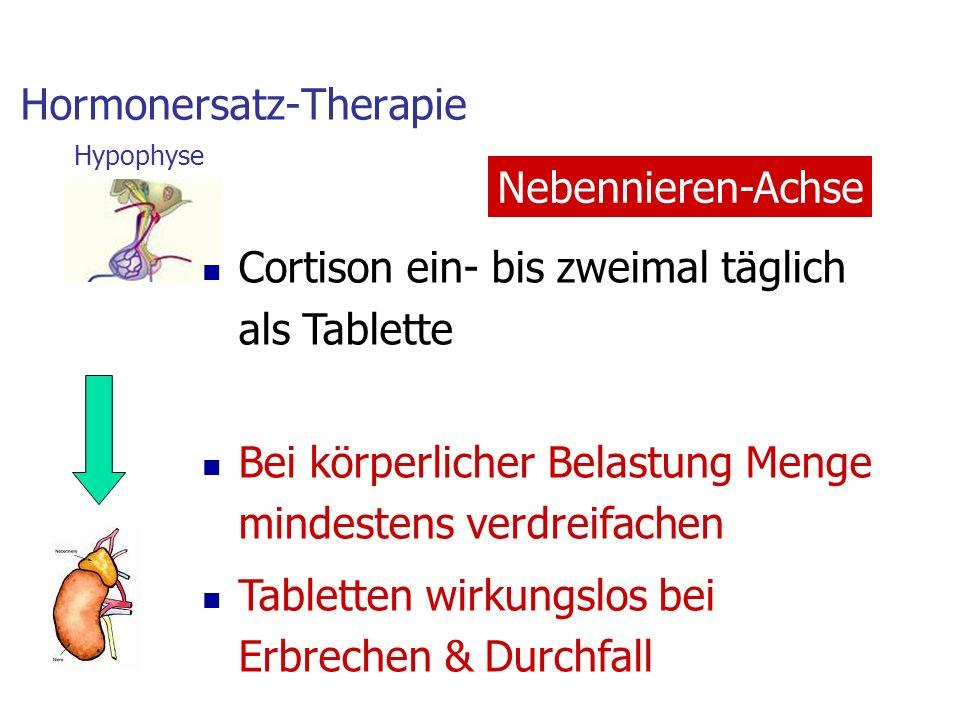 Hormonersatz-Therapie Cortison ein- bis zweimal täglich als Tablette Bei körperlicher Belastung Menge mindestens verdreifachen Tabletten wirkungslos bei Erbrechen & Durchfall Nebennieren-Achse Hypophyse
