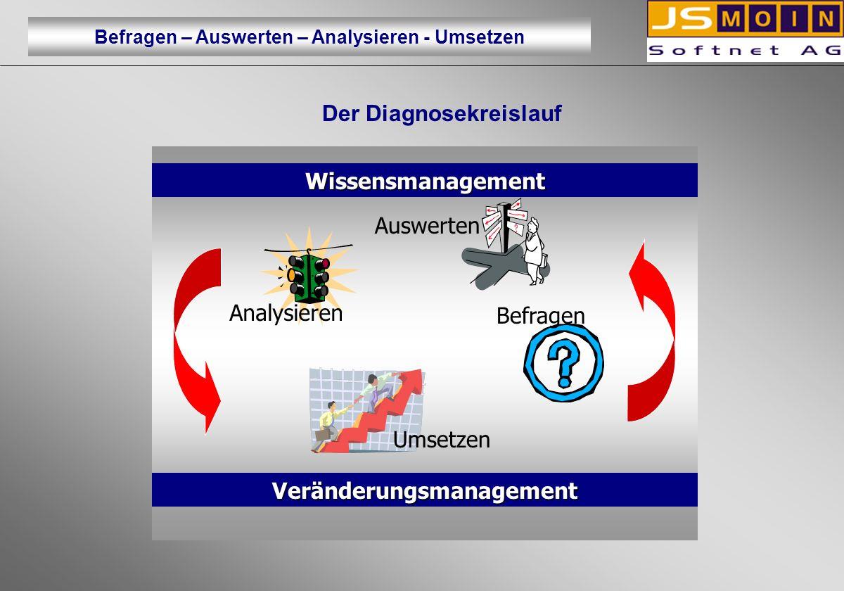 Der Diagnosekreislauf Veränderungsmanagement Wissensmanagement Auswerten Umsetzen Befragen Analysieren Befragen – Auswerten – Analysieren - Umsetzen
