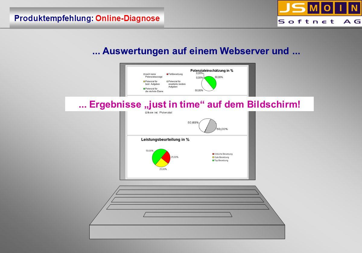 ... Auswertungen auf einem Webserver und...... Ergebnisse just in time auf dem Bildschirm! Produktempfehlung: Online-Diagnose