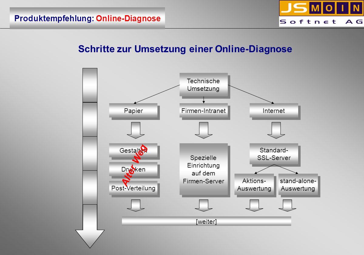 Schritte zur Umsetzung einer Online-Diagnose Fragebogen ausfüllen Fragebogen ausfüllen auf dem Bildschirm auf Papier Einsammeln Einscannen Fehlerkorrektur [weiter] Produktempfehlung: Online-Diagnose Alter Weg