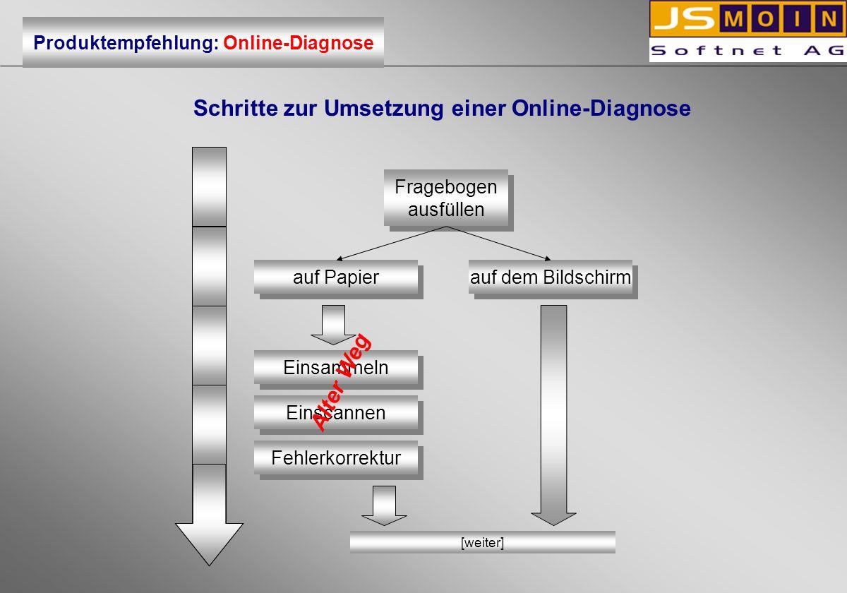 Schritte zur Umsetzung einer Online-Diagnose Fragebogen ausfüllen Fragebogen ausfüllen auf dem Bildschirm auf Papier Einsammeln Einscannen Fehlerkorre