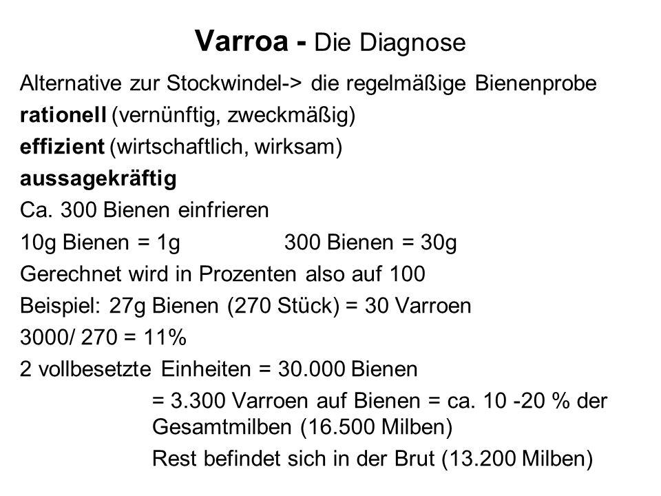 Varroa - Die Diagnose Alternative zur Stockwindel-> die regelmäßige Bienenprobe rationell (vernünftig, zweckmäßig) effizient (wirtschaftlich, wirksam) aussagekräftig Ca.