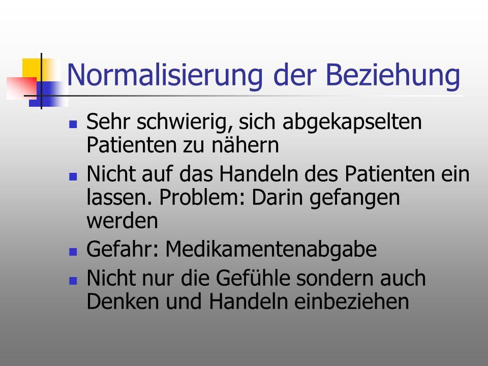 Normalisierung der Beziehung Sehr schwierig, sich abgekapselten Patienten zu nähern Nicht auf das Handeln des Patienten ein lassen. Problem: Darin gef