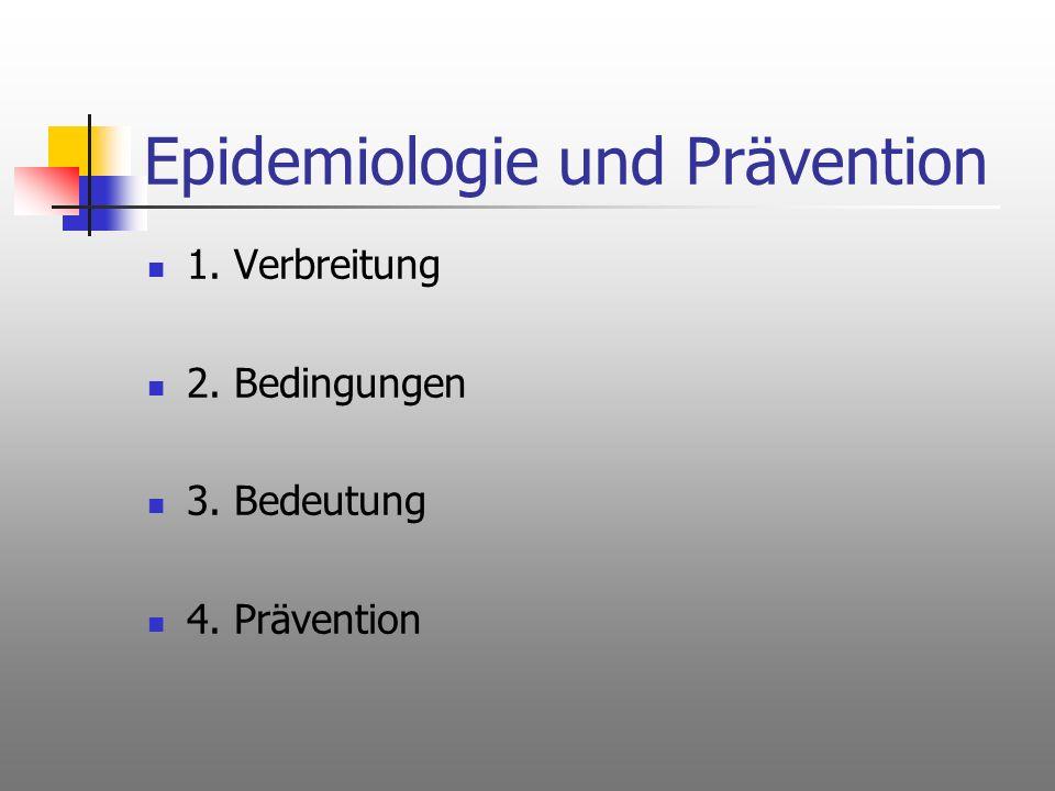 Epidemiologie und Prävention 1. Verbreitung 2. Bedingungen 3. Bedeutung 4. Prävention
