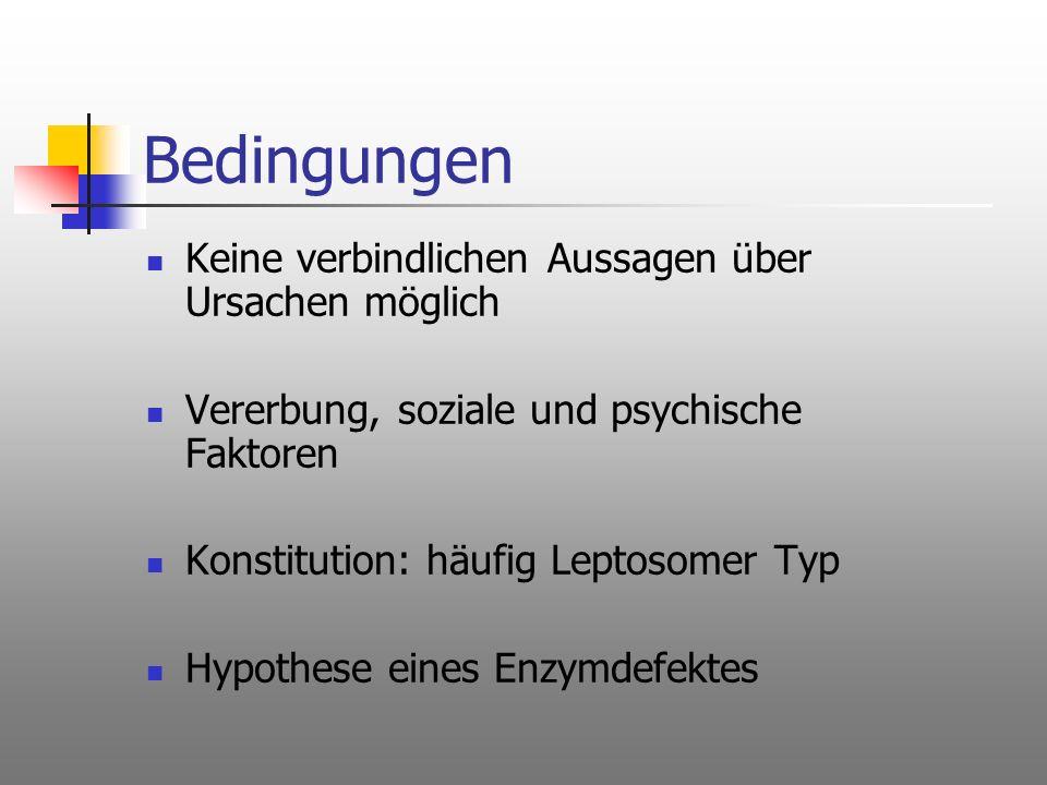 Bedingungen Keine verbindlichen Aussagen über Ursachen möglich Vererbung, soziale und psychische Faktoren Konstitution: häufig Leptosomer Typ Hypothes
