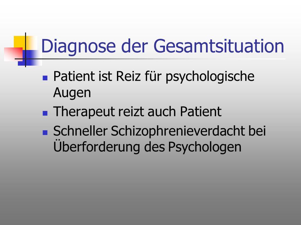 Diagnose der Gesamtsituation Patient ist Reiz für psychologische Augen Therapeut reizt auch Patient Schneller Schizophrenieverdacht bei Überforderung