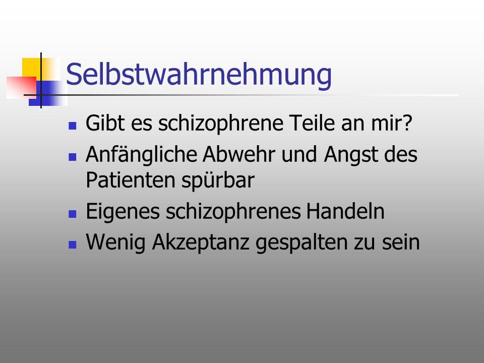 Selbstwahrnehmung Gibt es schizophrene Teile an mir? Anfängliche Abwehr und Angst des Patienten spürbar Eigenes schizophrenes Handeln Wenig Akzeptanz