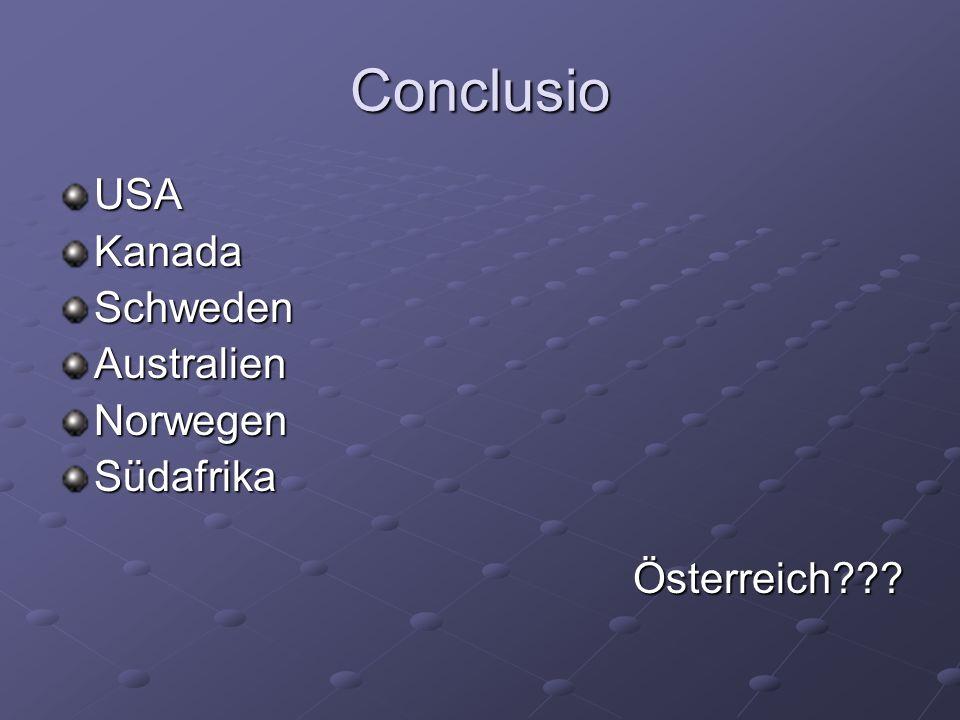 Conclusio USAKanadaSchwedenAustralienNorwegenSüdafrikaÖsterreich???