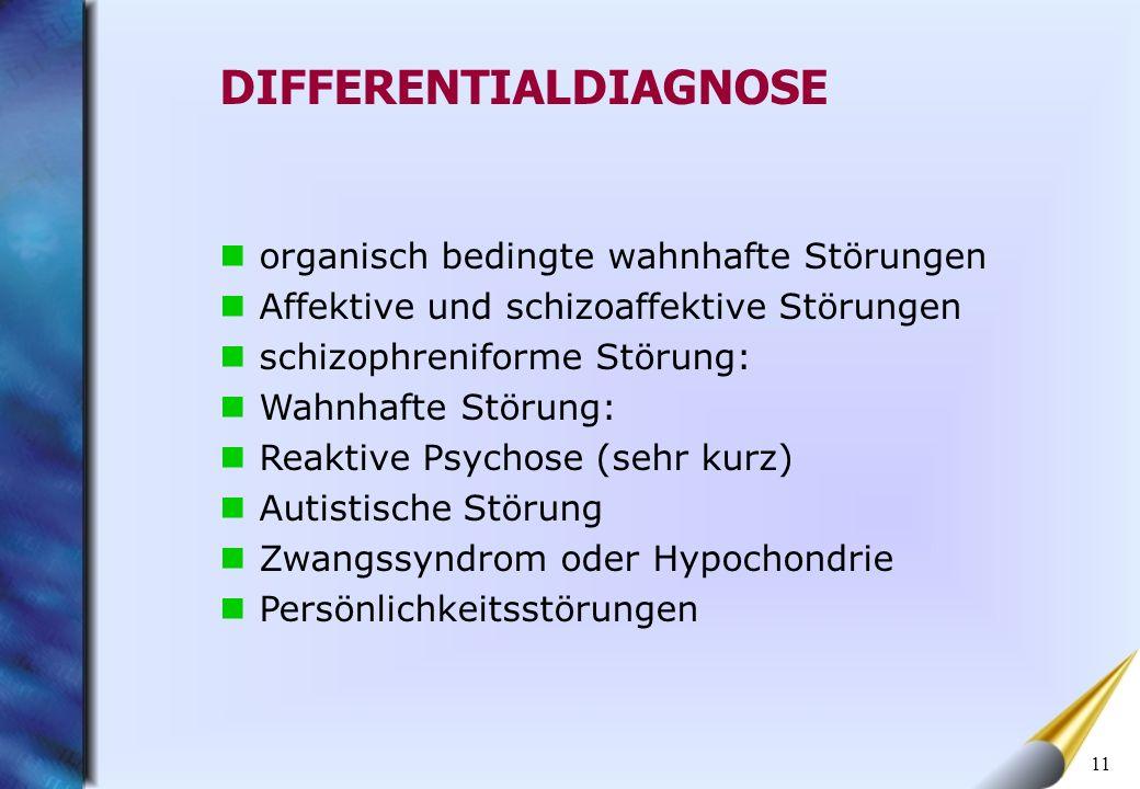 11 organisch bedingte wahnhafte Störungen Affektive und schizoaffektive Störungen schizophreniforme Störung: Wahnhafte Störung: Reaktive Psychose (seh