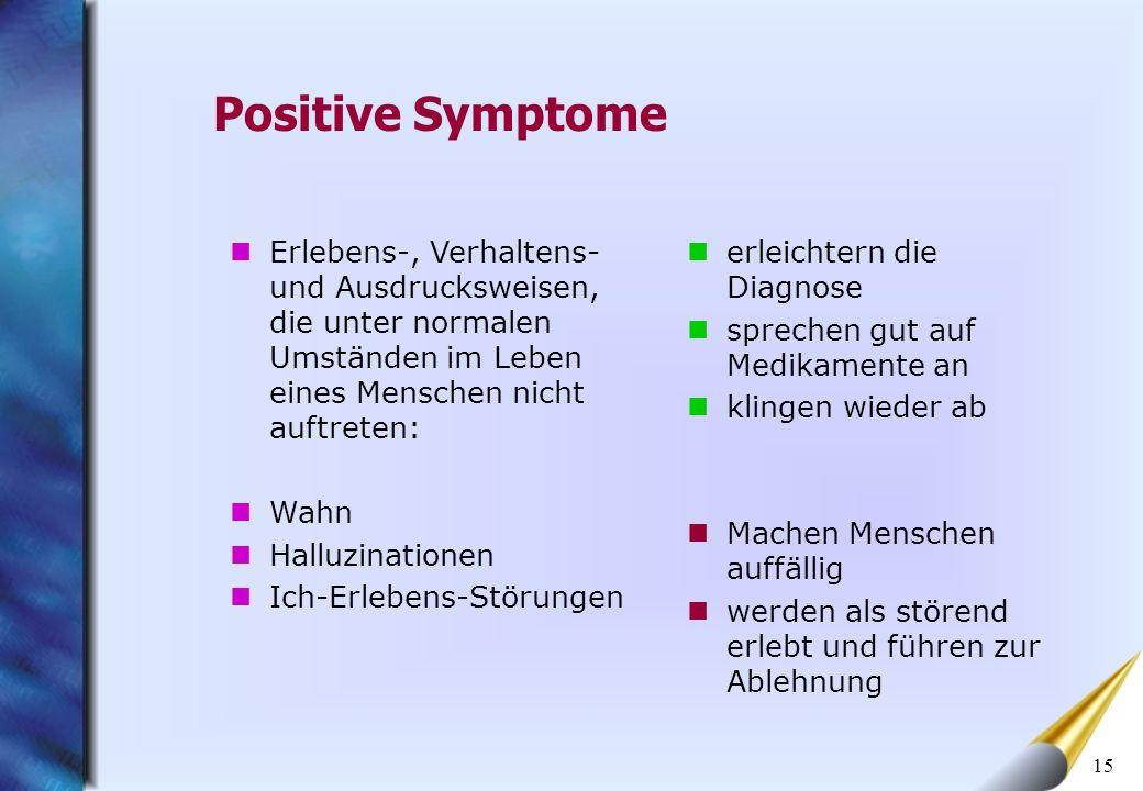 15 Positive Symptome erleichtern die Diagnose sprechen gut auf Medikamente an klingen wieder ab Machen Menschen auffällig werden als störend erlebt un