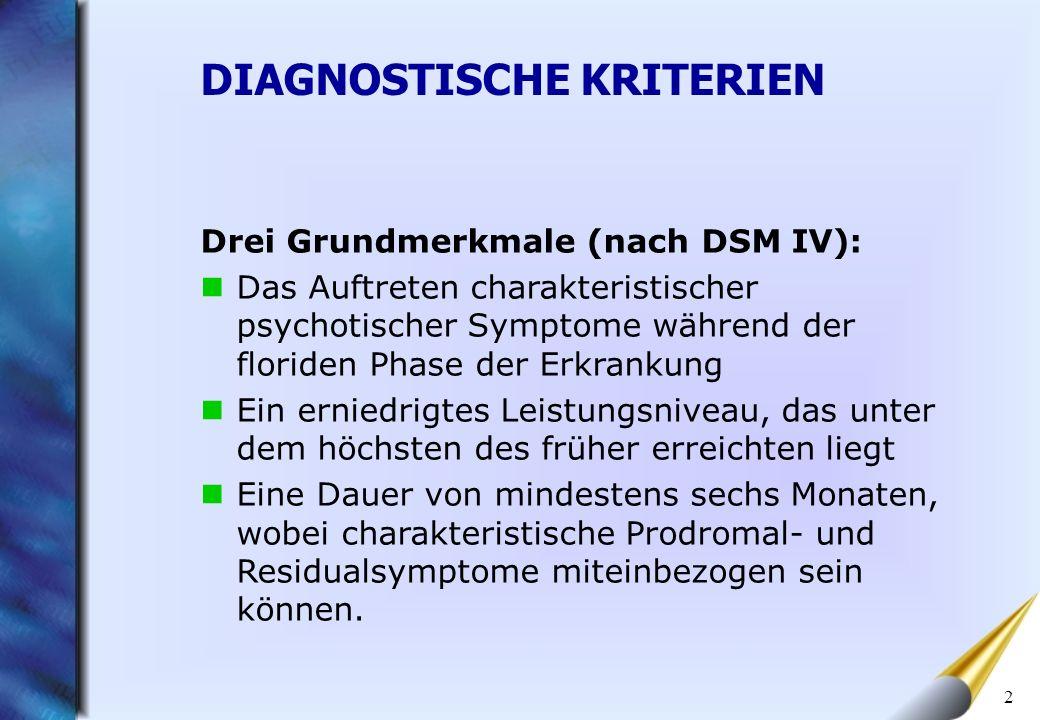 2 Drei Grundmerkmale (nach DSM IV): Das Auftreten charakteristischer psychotischer Symptome während der floriden Phase der Erkrankung Ein erniedrigtes