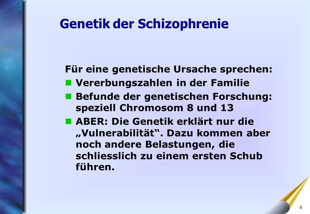 4 Für eine genetische Ursache sprechen: Vererbungszahlen in der Familie Befunde der genetischen Forschung: speziell Chromosom 8 und 13 ABER: Die Genet