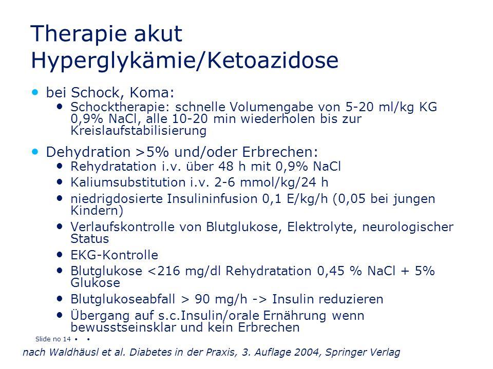 Slide no 14 Therapie akut Hyperglykämie/Ketoazidose bei Schock, Koma: Schocktherapie: schnelle Volumengabe von 5-20 ml/kg KG 0,9% NaCl, alle 10-20 min