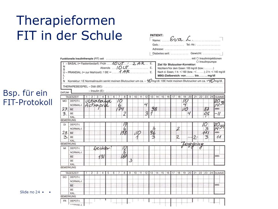 Slide no 24 Bsp. für ein FIT-Protokoll Therapieformen FIT in der Schule