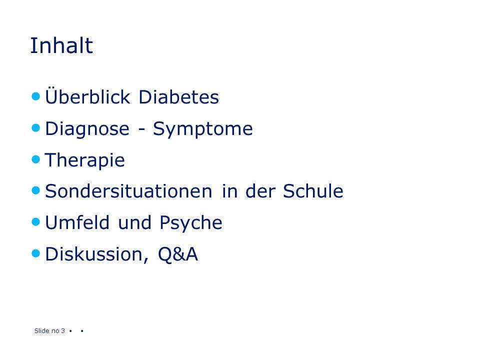 Slide no 3 Inhalt Überblick Diabetes Diagnose - Symptome Therapie Sondersituationen in der Schule Umfeld und Psyche Diskussion, Q&A