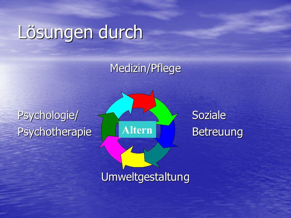Lösungen durch Medizin/Pflege Psychologie/Soziale PsychotherapieBetreuung Umweltgestaltung Altern