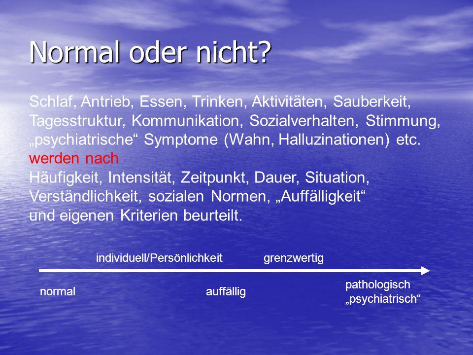 Normal oder nicht? Schlaf, Antrieb, Essen, Trinken, Aktivitäten, Sauberkeit, Tagesstruktur, Kommunikation, Sozialverhalten, Stimmung, psychiatrische S