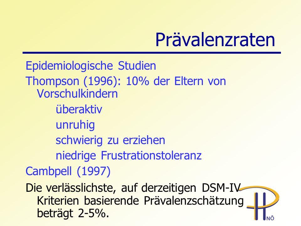 Prävalenzraten Epidemiologische Studien Thompson (1996): 10% der Eltern von Vorschulkindern überaktiv unruhig schwierig zu erziehen niedrige Frustrati