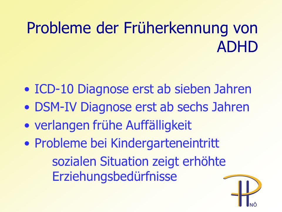 Probleme der Früherkennung von ADHD ICD-10 Diagnose erst ab sieben Jahren DSM-IV Diagnose erst ab sechs Jahren verlangen frühe Auffälligkeit Probleme